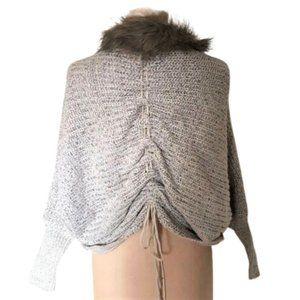 Lace up back ffaux fur collar cardigan sweater